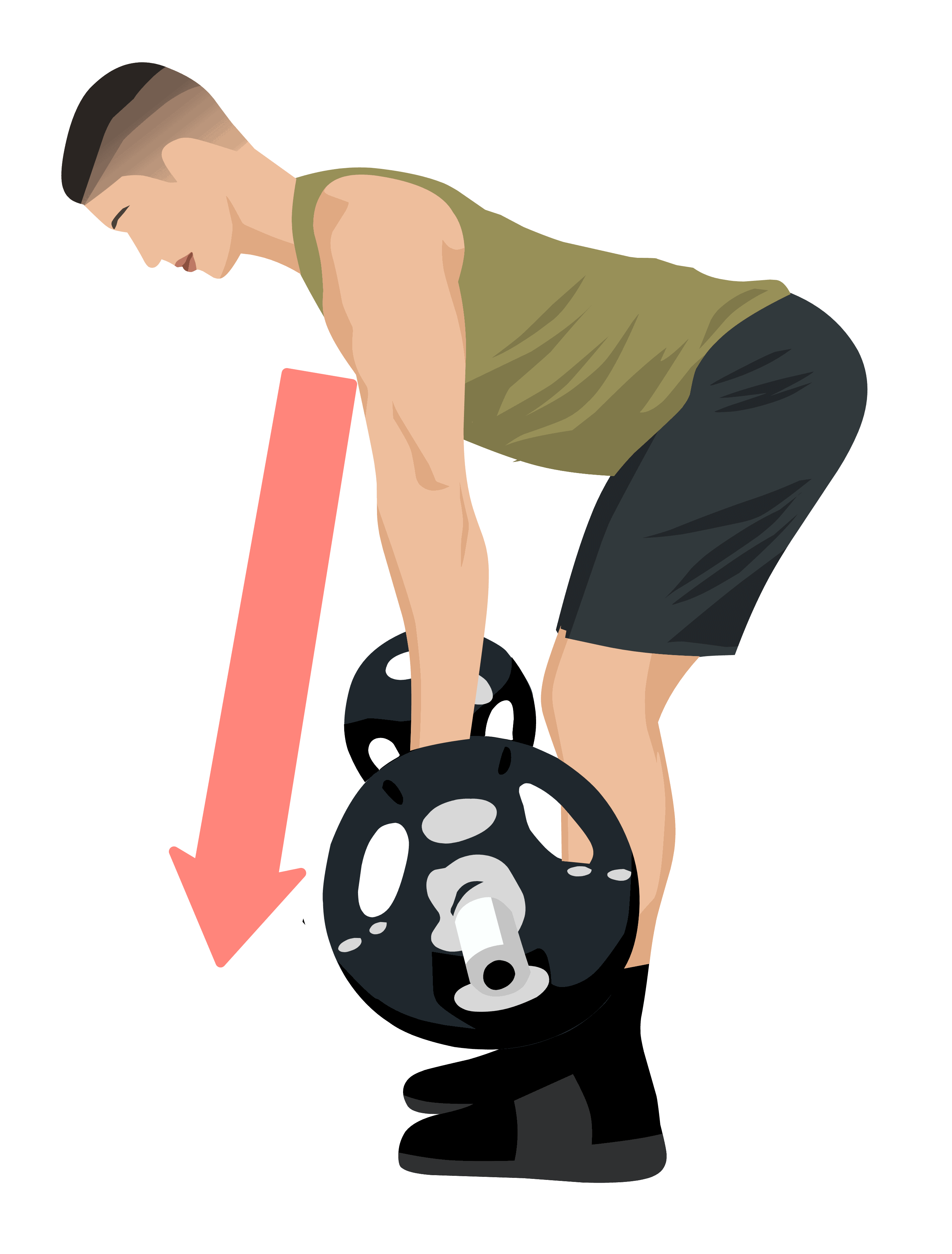 barbell row descent to starting position