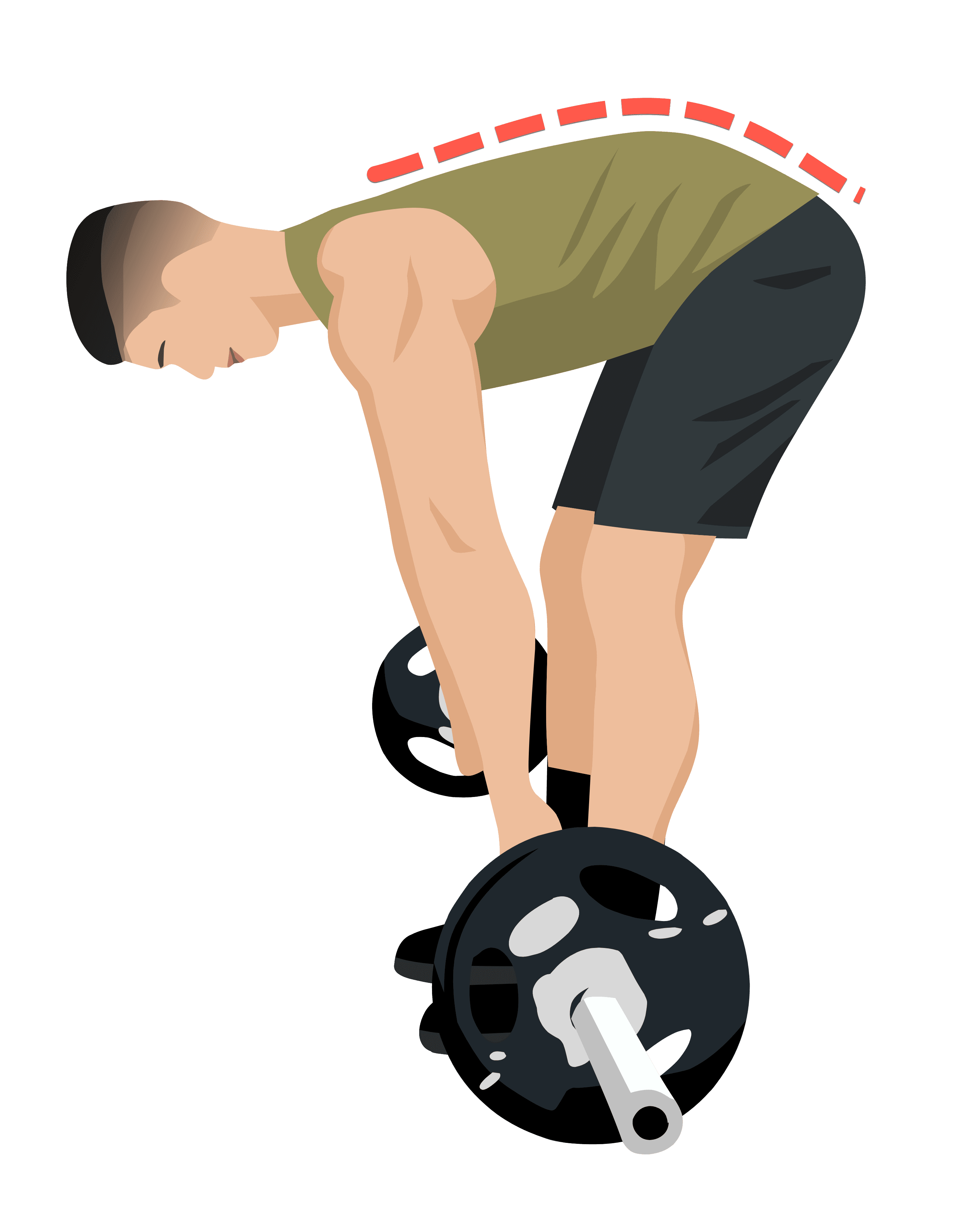barbell row starting position rounded back