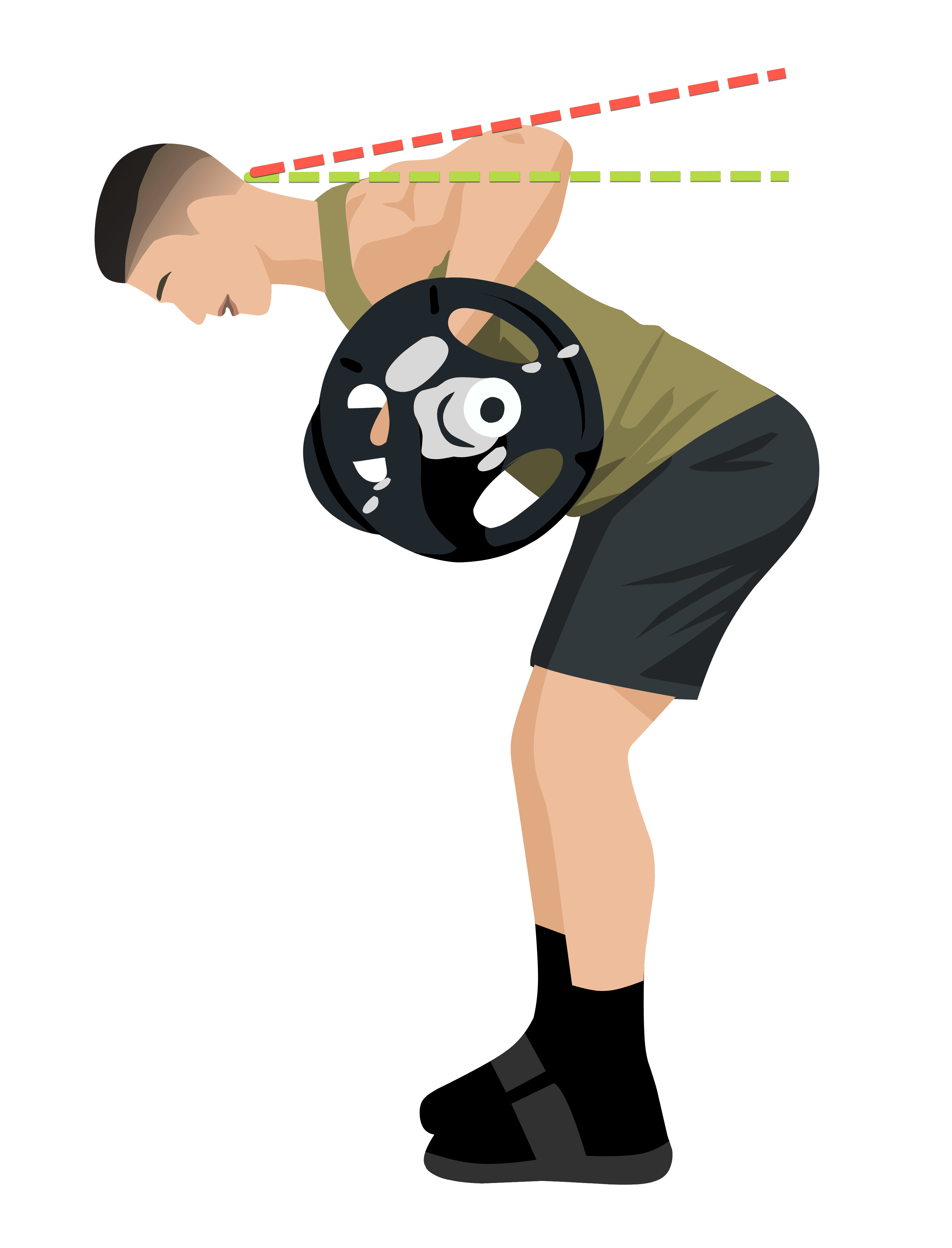barbell row top position too high